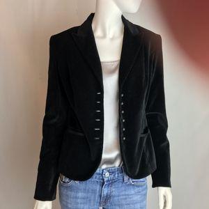 Tahari Black Cotton Velvet Fitted Jacket